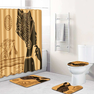 4pcs set Shower Curtain Bath Mat Set African Woman Pattern Pedestal Rug Lid Toilet Cover Anti-slip Mat Bathroom Curtains LJ201130