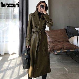 Nerazzurri otoño abrigo de cuero de gran tamaño para mujeres fashas de manga larga para mujeres abrigos de piel sintética sueltos Mujeres Moda 210201