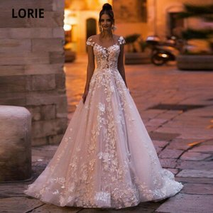 LORIE Bohemia Dresses Light Pink 2020 V-Neck 3D Flower Appliques Lace Bridal Gowns Beach Boho Wedding Dress Plus Size Q1113
