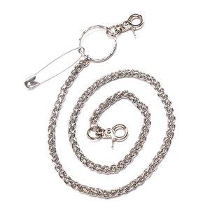 Colgante del bolso retro de las grandes Monedero Decoración de correa del metal de la cadena Anillo Pin clip de plata Pantalones Pantalón Llavero