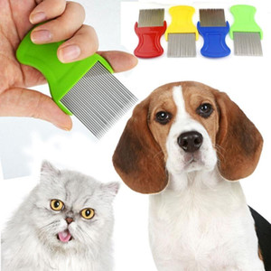 Dog Cat Hair Lice Nit Comb Pet Safe Flea Eggs Dirt Dust Remover Stainless Steel Grooming Brushes