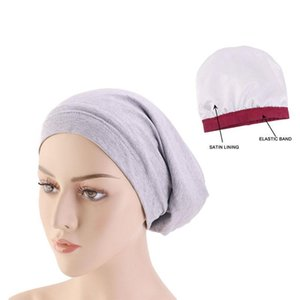 New European and American stretch cap wide brimmed cover cap lined with tinted chemotherapy hair loss nightcap