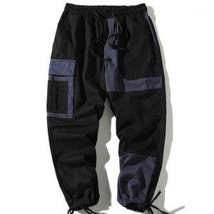 Мужские брюки Чжусунже уличные карманы хип-хоп ленты грузовой мужской хлопок хараджуку повседневная мужская гарем брюки пробеги
