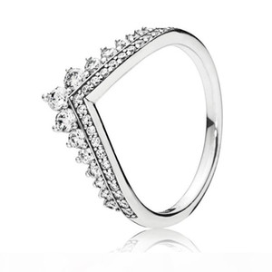 Trendy Genuine 925 Sterling Silver Shimmering Princess Wishbone Ring For Women Wedding Engagement Party Pandora Jewelry Gift