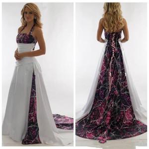 2021 Camo Wedding Dresses Sexy Halter Camouflage Custom Plus Size Bridal Gowns Beach Backless Summer Wedding Dress