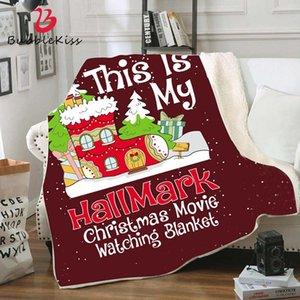 Bubble Kiss Weihnachtsdecke Rot Doppelvlies Decke Mode Wurf Neujahrsgeschenk Weihnachtsdecken Partei liefert