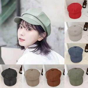 Mujeres Caps Boinas Señoras PU Cuero Impermeable Octogonal Cap Beret Hats Artist Painter Hat