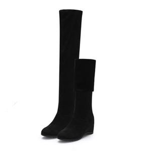 Siyah Elastik Flock Slim Fit Üzeri Diz Boots Kadınlar 2020 Sonbahar Kış Seksi bayanlar yüksek topuk Uzun Uyluk Yüksek C1016 BOTAŞ takozlar