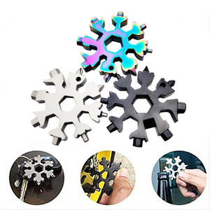 Christmas Gift Snowflake Multi Tool 18 in 1 Snowflake Multitool Wrench Multitool Bottle Openers Key Ring Bike Fix Tool Snowflake T3I51658