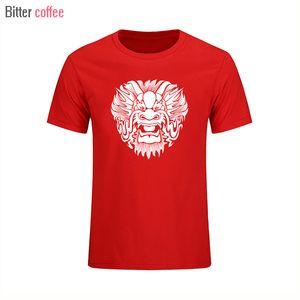 Толстовка Мужчины 2018 Новый китайский Спорт Short Маска Dragon Мужчины T-Shirt рукава Топы Tshirt КОФЕ XS-XXL тройники мужской моды капюшоном BITTER H Poxu