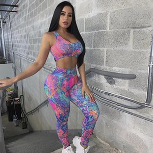 Workout Suit Fitness Tracksuit Women Casual Two Piece Set Summer Print Crop To and Pants Set Gym Clothing Sportswear 2 Piece