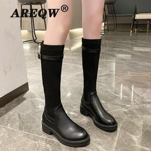 AREQW CALIENTE Rodilla Botas Mujeres Otoño Invierno Plaza del talón de señora Platform Shoeselegant Mujer Negro Ronda del dedo del pie botas largas