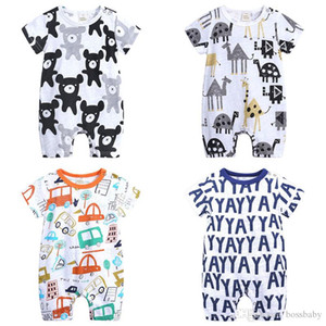 Newborn Baby Kids Romper 6 Colors Letter Cartoon Printed Rompers Baby Infant Boy Casual Clothes Girls Jumpsuits 0-18M 07