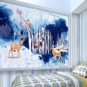 Drop Shipping 3D Photo Wallpaper Watercolor Woods Sika Deer Living Room Wall Decoration Painting Custom Mural Stereo Wallpaper