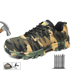 Yadibeiba Work Boots Construction Men's Outdoor Steel Toe Cap Safety Shoes Camouflage Breathable Outdoor Sneakers Work Footwear LJ200916