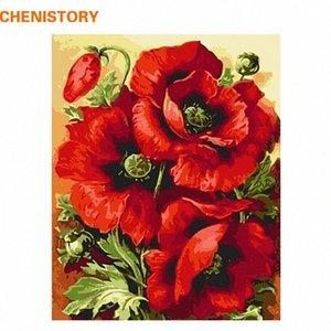 CHENISTORY Acryl Bild Rote Blume DIY Digital Painting By Numbers Wohnkultur Moderne Wand-Kunst-Leinwand-Malerei Wandkunstwerk 095N #