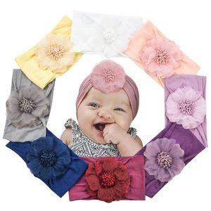 Bandas bebê Flor Headband cabelo chiffon flor bebê Elastic cabelo rendas infantil Headbands para meninas Headwear Meninas Acessórios KKF2202