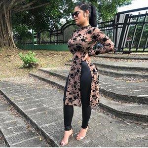 2020 Spring Women Mesh Print Long Tops Blouse Women High Collar High Split Casual Shirts Long Sleeve Womens Retro Shirts Roupas