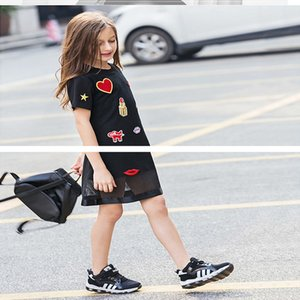 Atacado 2021 novo verão adolescentes menina t-shirt vestido mangas curtas amor coração batom lips estilo casual roupas kids e033