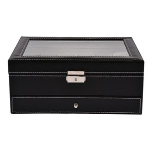20 Grids Slots Double Layers Watch Box PU Leather Jewelry Display Storage Case Watches Container Organizer Box High Quality Q0120