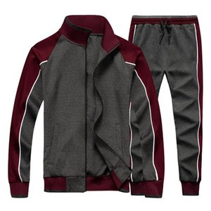 Mens Sportswear Casual Spring Tracksuit Men Two Pieces Sets Stand Collar Jackets Sweatshirt Pants Joggers Track Suit Running
