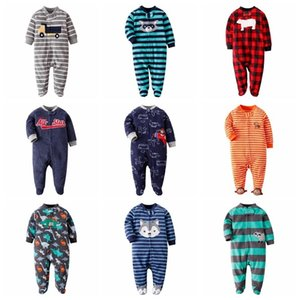 Fleece Wrap Foot Crawl Langarm Jumpsuit in Pyjamas Junge Baby Mädchen Kleidung Winter 201028