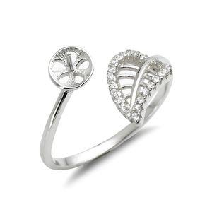 Yaprak Yüzük Montaj 925 Ayar Gümüş Boşluklar Zirkon Hollow Kesim Yaprak Tasarım Pearl Ayarları 5 Parça