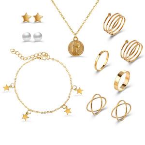 S1878 Hot Fashion Jewelry Set Earrings Bracelet Necklace Rings Sets 10pcs set