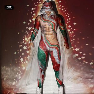 Christmas Party Red Tassel Rhinestone Jumpsuit Men sexy outfits for women Stretch Hooded Stage club Dancer cosplay Costumes rave