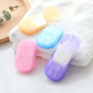 20 pçs / conjunto de papel de sabão descartável limpo fatia scented caixa de espuma mini sabão papel para uso ao ar livre usar cor aleatória gwf4091