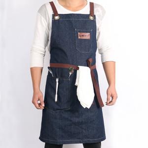 WEEYI Denim Кухня Кулинария Фартук ж / регулируемый ремень хлопок Большие карманы Синий Бариста мужчин и женщин Homewear