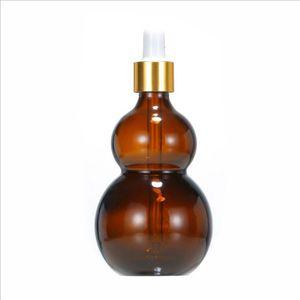 30 ml botellas de calabaza vidrio reactivo líquido pipeta gotero de vidrio con gotero de cristal de vidrio redondo cápsulas de plástico al por mayor 224 J2