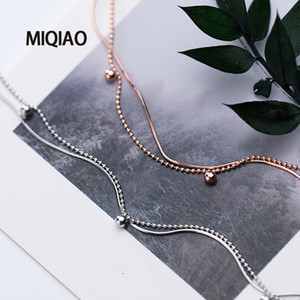 MIQIAO Bracelet On The Leg Anklet For Women Silver 925 Foot Jewelry Fashion Snake Chain Summer Sandals Ladies Ornament Girls
