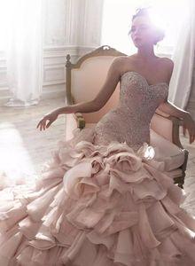 Luxury Mermaid Wedding Dress Free Shipping Blush Pink Sweetheart Neck Crystal Beads Custom Made Ruffles High Quality Wedding Dresses