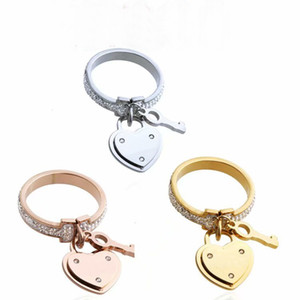 Fashion Lady 316L Titanium steel Full Diamond Double T Wedding Engagement 18K Gold Plated with Heart Lock Key Pendant Rings 3 Color Size6-9