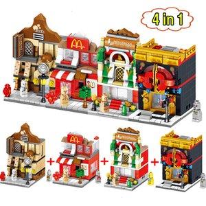 4 en 1 Mini Scène Blocks Fast Food Boutique Architectures Retail Store Rue Educational Building Sets modèle Briques Bloc Jouets