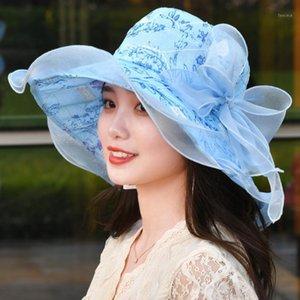 Chiffon Fedora Hüte Blume Hochzeit Hüte Kleider Elegante Rosa Frauen Wide BRIM1