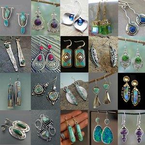 SexeMara Indian Tribal Stylish Natural Dangle Drop Earrings Resin Stone Boho Ethnic Vintage Hanging Earrings 2019 for Women