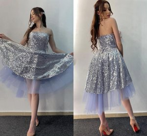 2021 Silver Sequined Party Graduation Dresses Strapless High Low Open Back Short Prom Birthday Dress Homecoming Cheap Formal Dress Girls