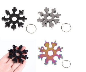DHL hot 18 in 1 camp key ring pocket tool hike keyring multipurposer survive outdoor Openers snowflake multi spanne hex wrench DHF2679