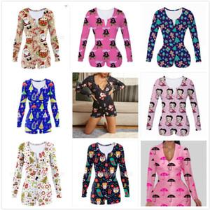 Женщины Комбинезон тонких сексуальный Хэллоуин мода Главной Wear Рождество Printed V-образный вырез женского Новые Tight Rompers Onesies 2020