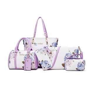 Новые поступления 6шт / Set Мода женщин сумки печать Кожа PU Сумка Композитный Комплект сцепления Большие сумки на ремне кошелек Женский C1009