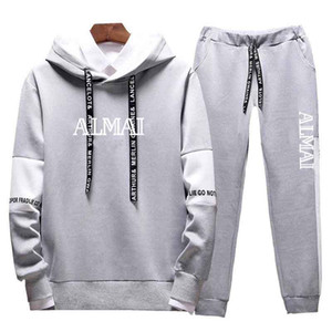 Mens Tracksuit Fashion Stylish Hoodies Pants 2 Piece Sets Solid Color Stylist Outfit Suits Men Slim Tracksuits for Mens 6 Style