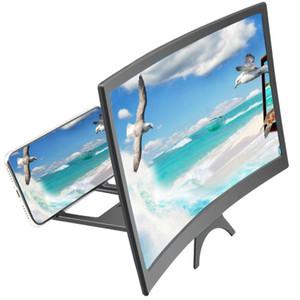 12-дюймовый изогнутый экрана мобильного телефона Magnifier HD Video Amplifier 3D экран фильм Дисплей Увеличенная Smartphone Stand Holder