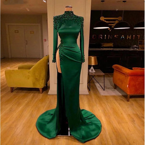 2021 Emerald Green Arabic Evening Dresses Long Sleeves High Slit Sexy Prom Party Dresses Chic Beading Mermaid Long Formal Gowns Lady