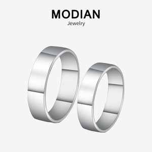 Modian Sale 100% 925 Sterling Silver Couple Simple Rings Classic Lover Finger Ring For Women & Man Wedding Silver Jewelry Bijoux