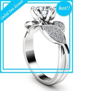 Fashion jewelry creative flower new female inlaid ring