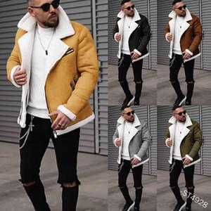 Lugentolo кожаная куртка Мужчины Зимняя мода Шуба отложной воротник Молния Плюс Размер Твердая длинным рукавом Мужская одежда