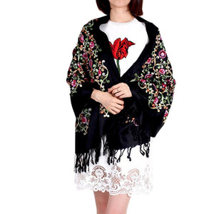 Hot Sale 2020 Winter Cashmere Scarf For Women Vintage Embroidery Thicking Warm Shawl Scarves Daily Wear Floral