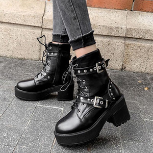 Demonia Boots Goth Shoes On Platform High heels Women Fashion Boots Black Rivets Short Ankle Gothic Style Ladies New